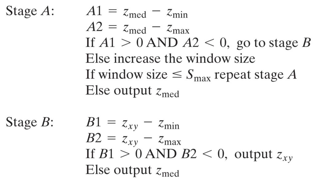 adaptive median filter pseudocode
