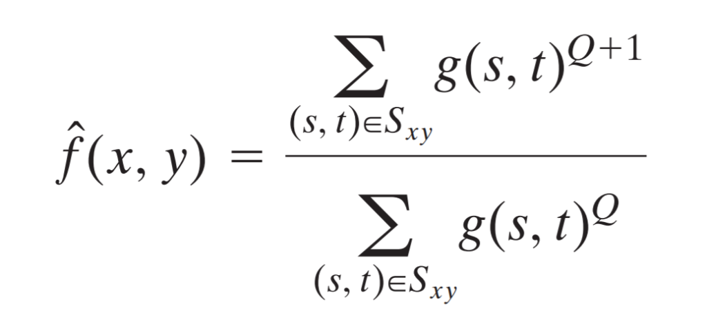 contraharmonic mean filter formula