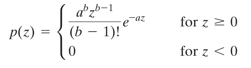 Gamma noise probability distribution function