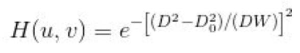 Gaussian bandreject filter formula