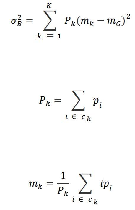 Formulas for multilevel thresholding