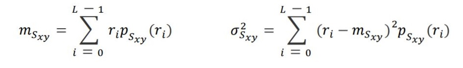 formulas for local mean and standard deviation for adaptive thresholding