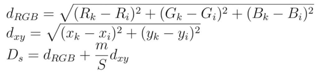 Distance formula for SLIC superpixel segmentation