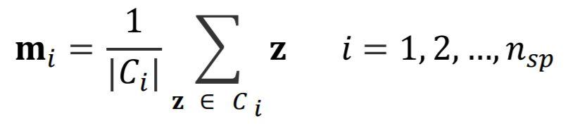 Formula for mean values for each superpixel